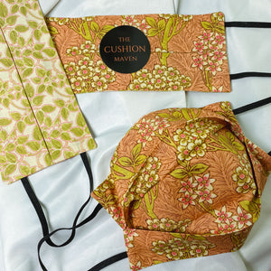 "Reversible & Reusable V&A Cotton Face Mask, ""Coral Leaves"""