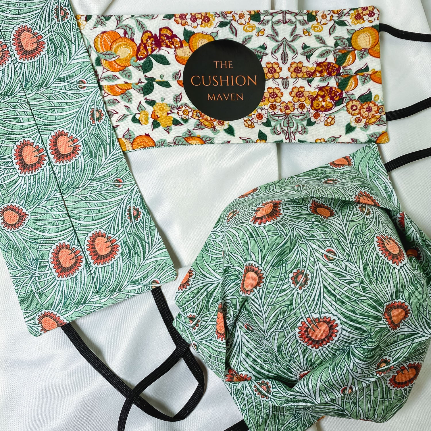 "Reversible & Reusable Liberty of London Cotton Face Mask, ""Pumpkin Squash"""