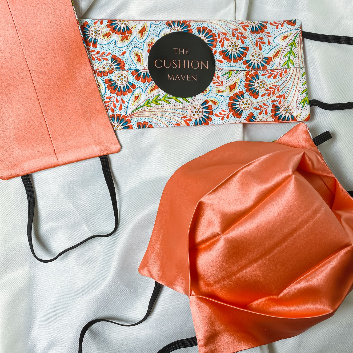"Reversible & Reusable Liberty of London Cotton & Mulberry Silk Face Mask, ""Peacock Salmon"""