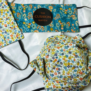 "Reversible & Reusable Cotton Face Mask, ""Wildflower Meadow"""