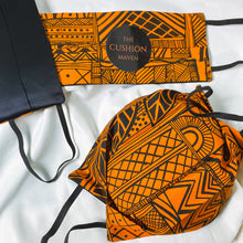 "Load image into Gallery viewer, Reversible & Reusable African Hand-dyed Cotton & Mulberry Silk Face Mask, ""Native Orange"""