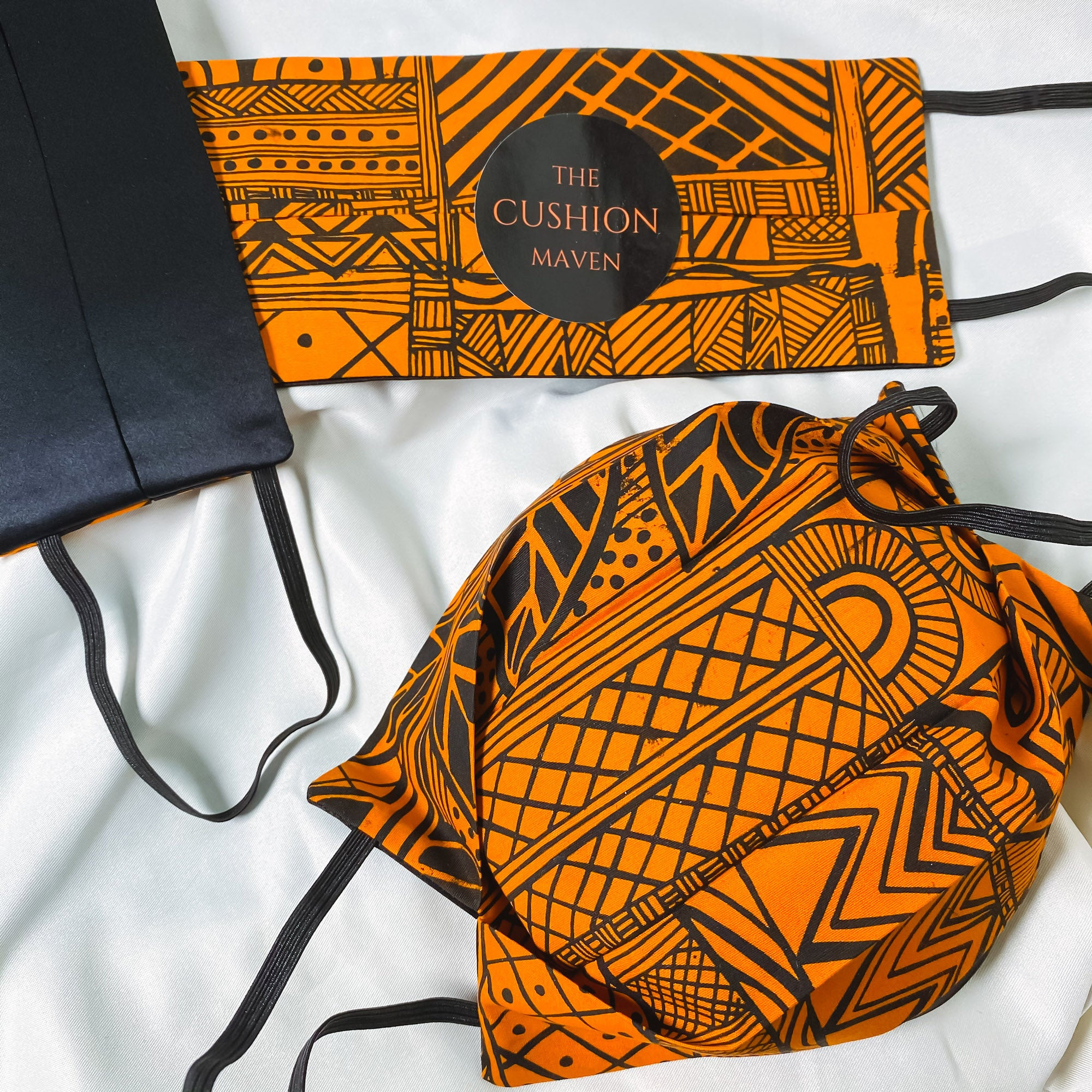 "Reversible & Reusable African Hand-dyed Cotton & Mulberry Silk Face Mask, ""Native Orange"""