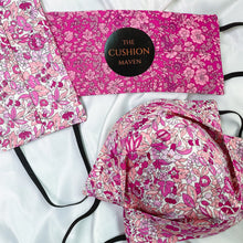 "Load image into Gallery viewer, Reversible & Reusable Liberty of London Cotton Face Mask, ""Raspberry Ripple"""