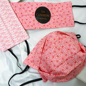 "Reversible & Reusable Cotton Face Mask, ""Sky Pink"""