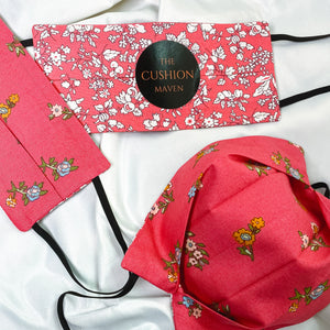 "Reversible & Reusable Liberty of London Cotton Face Mask, ""Cosmo Pink"""