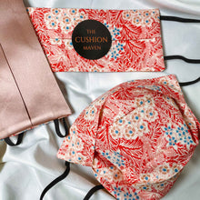 "Load image into Gallery viewer, Reversible & Reusable Adjustable V&A Cotton & Silk Face Mask, ""Lipstick Blush"""