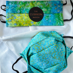 "Reversible & Reusable Batik Face Mask, ""Teal Me All About It"" Face Mask with filter pocket"