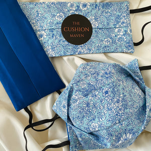"Reversible & Reusable Liberty of London Cotton & Mulberry Silk Face Mask, ""Ol' Blue Eyes"" Face Mask with filter pocket"