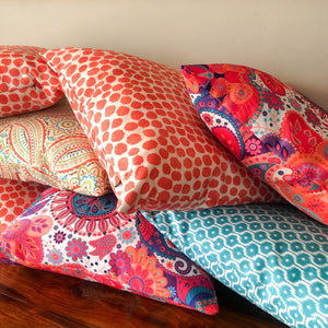 Handmade cushion - orange dots
