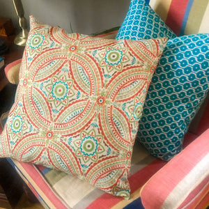 Handmade cushion - colourful Mayan style design cushion -