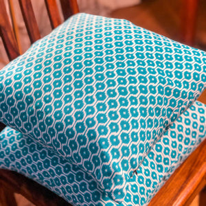 Handmade cushion - teal blue geometric design