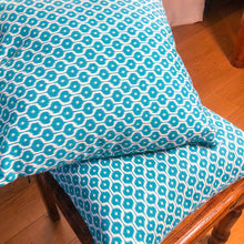 Load image into Gallery viewer, Handmade cushion - teal blue dots