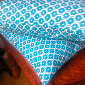 Handmade cushion - teal blue geometric design cushion -