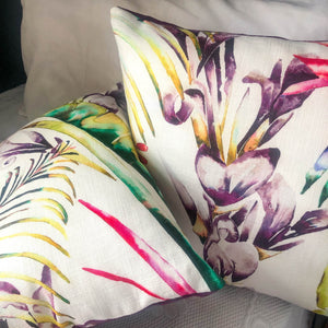 Handmade cushions - artistic botanical flowers (Sold as a pair) cushion -