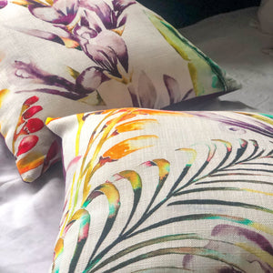 Handmade cushions - artistic botanical flowers (Sold as a pair)