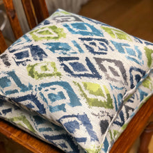 Load image into Gallery viewer, Handmade cushion - blue and sea green diamonds woven
