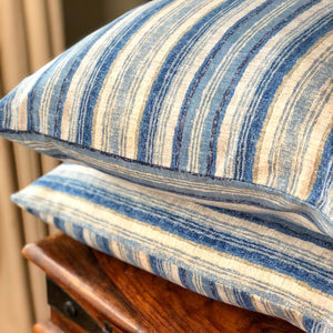 Handmade cushion - blue and white ombre stripe