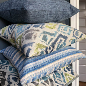 Handmade cushion - blue and white ombre stripe cushion -