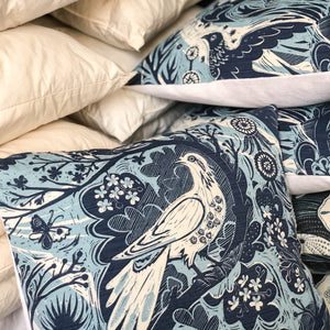 Handmade cushion - blue and white doves