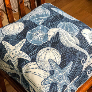 Handmade cushion - blue and white shells & seahorses
