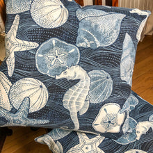 Load image into Gallery viewer, Handmade cushion - blue and white shells & seahorses cushion -