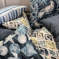 Handmade cushion - blue and white shells & seahorses cushion -