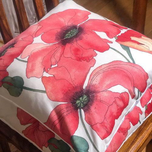 Handmade cushion - artistic large red poppies