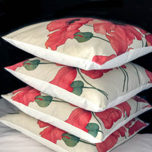 Load image into Gallery viewer, Handmade cushion - artistic large red poppies