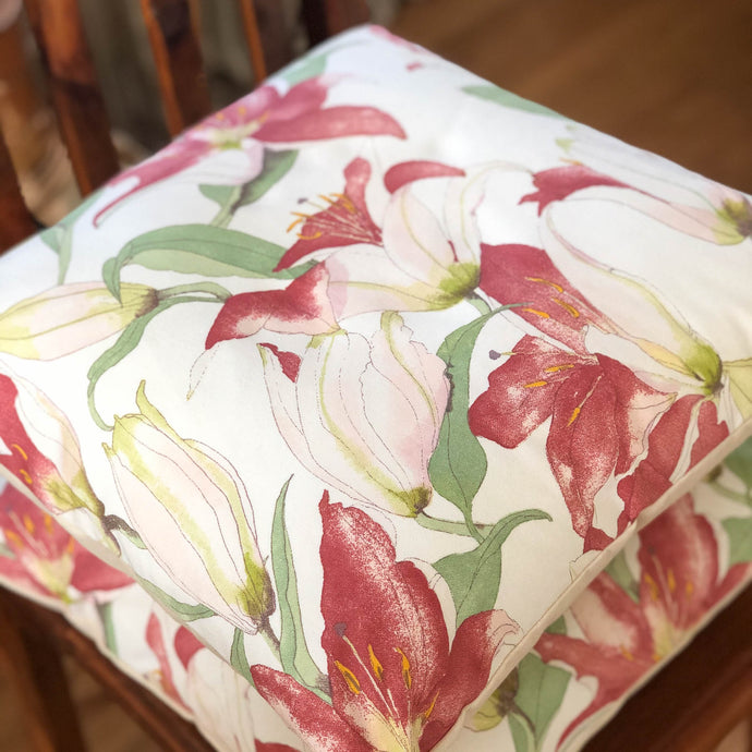 Handmade cushion - artistic Lillies cushion -
