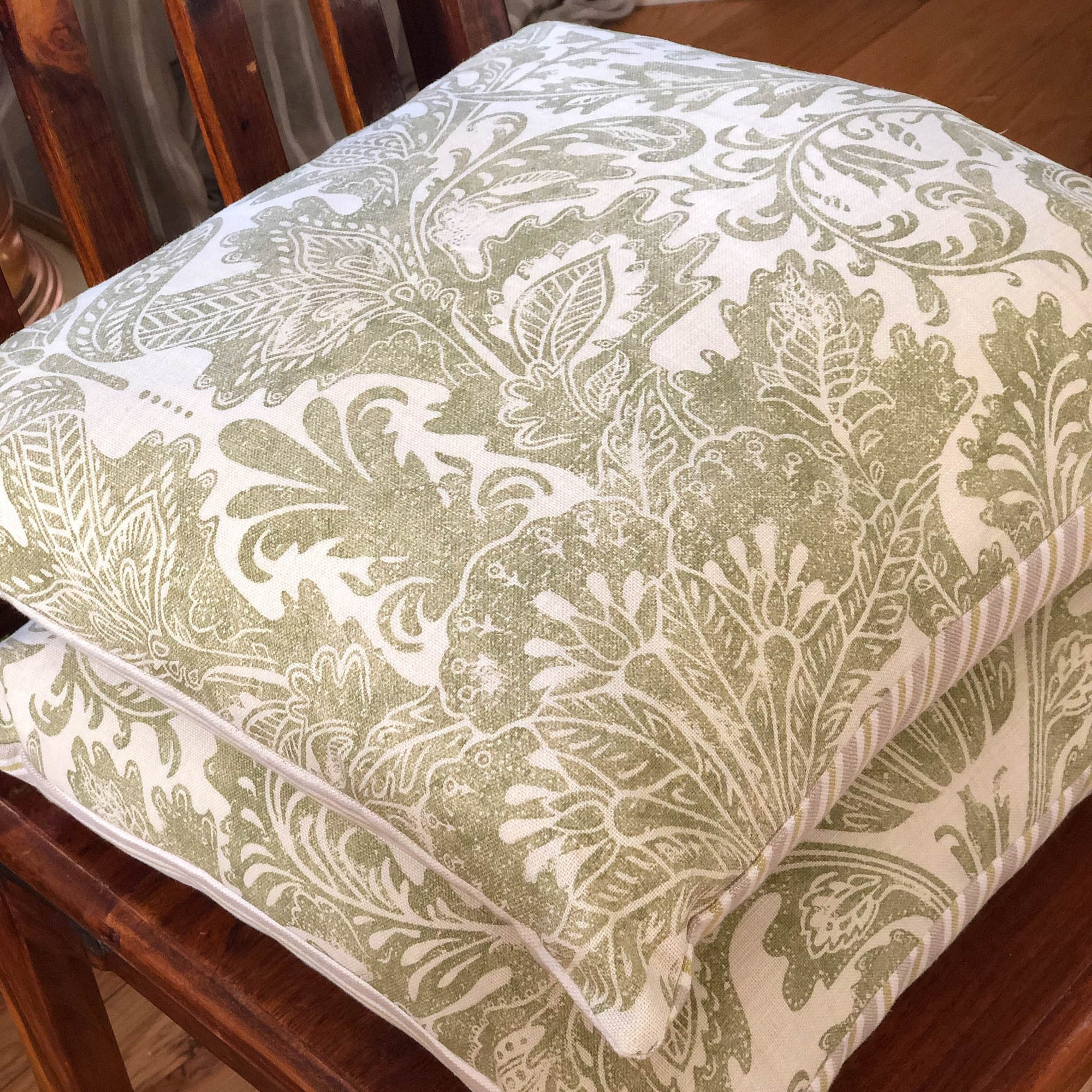Handmade cushion - sage thistles motif and stripes cushion -