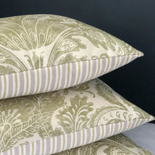 Load image into Gallery viewer, Handmade cushion - sage thistles motif and stripes cushion -