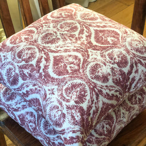 Handmade cushion - burgundy and white motif