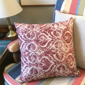 Handmade cushion - burgundy and white motif cushion -