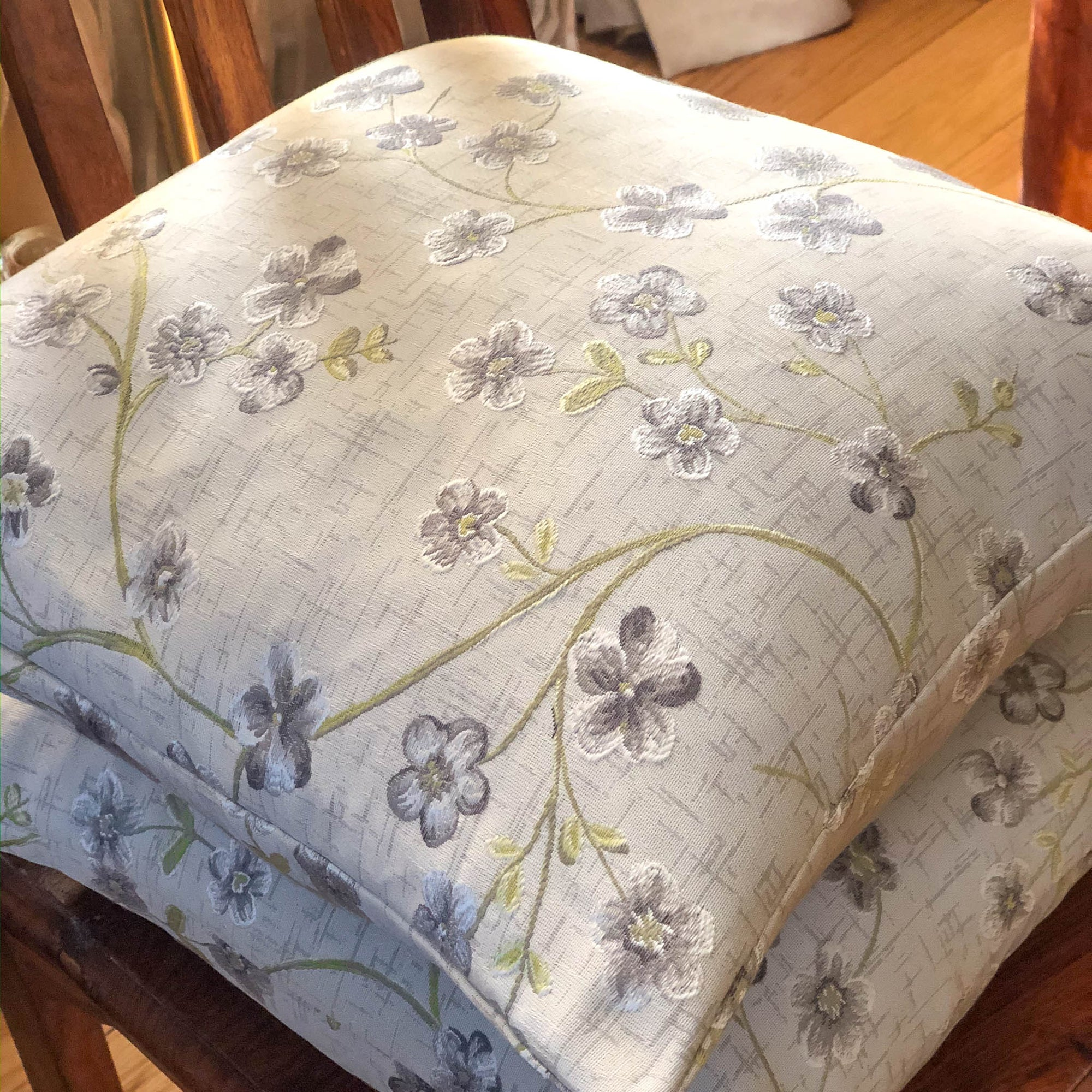 Handmade cushion - Grey and silver woven floral cushion -