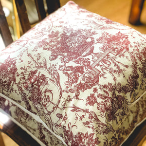 Handmade cushion - vintage burgundy and fawn motif design