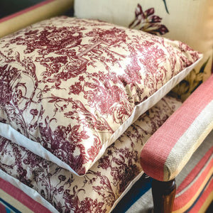Handmade cushion - vintage burgundy and fawn motif design cushion -