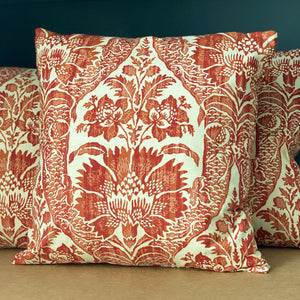 Handmade cushion - burnt orange & cream motif cushion -