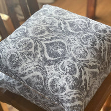 Load image into Gallery viewer, Handmade cushion - grey and white motif cushion -