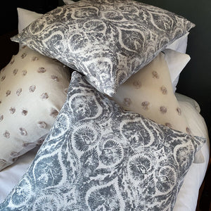 Handmade cushion - grey and white motif cushion -