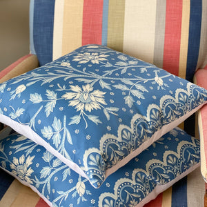 "Handmade cushion - rare vintage cotton chintz, ""Verrières"" cushion -"