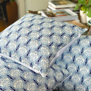 Handmade cushion - art deco cotton print cushion -