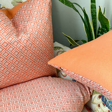 Load image into Gallery viewer, Handmade cushion - orange & cream weave