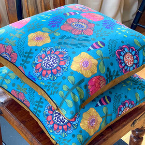 Handmade cushion - colourful bold flowers on teal