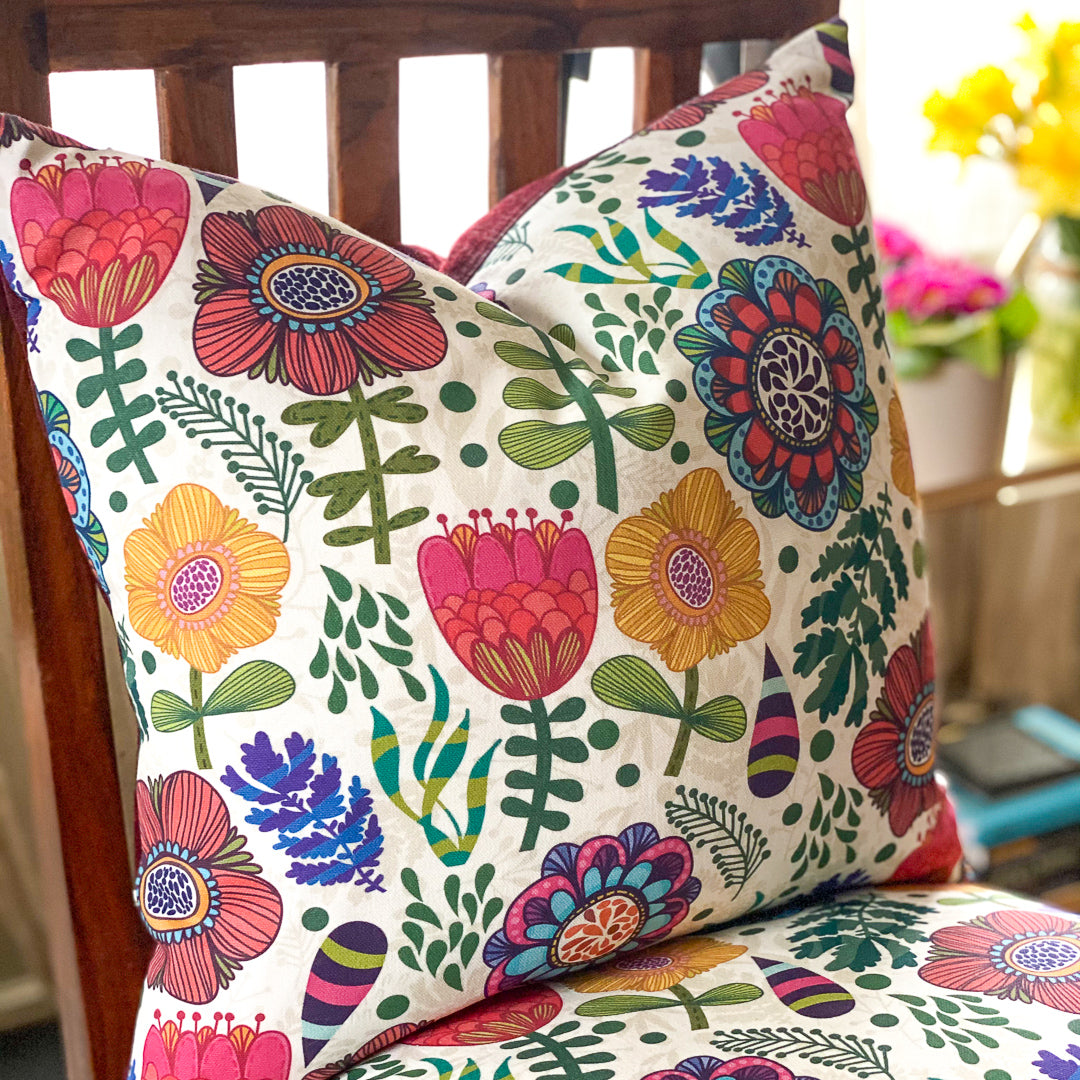 Handmade cushion - colourful bold flowers on white