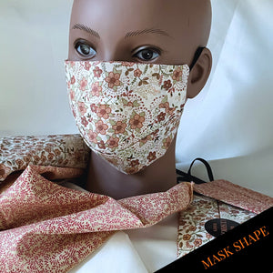 "Reversible & Reusable Liberty of London Cotton & Mulberry Silk Face Mask, ""Peach Melba"" Face Mask with filter pocket"