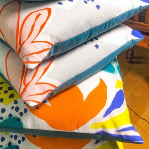 Handmade cushions - bold and colourful abstract flowers