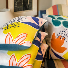Load image into Gallery viewer, Handmade cushions - bold and colourful abstract flowers