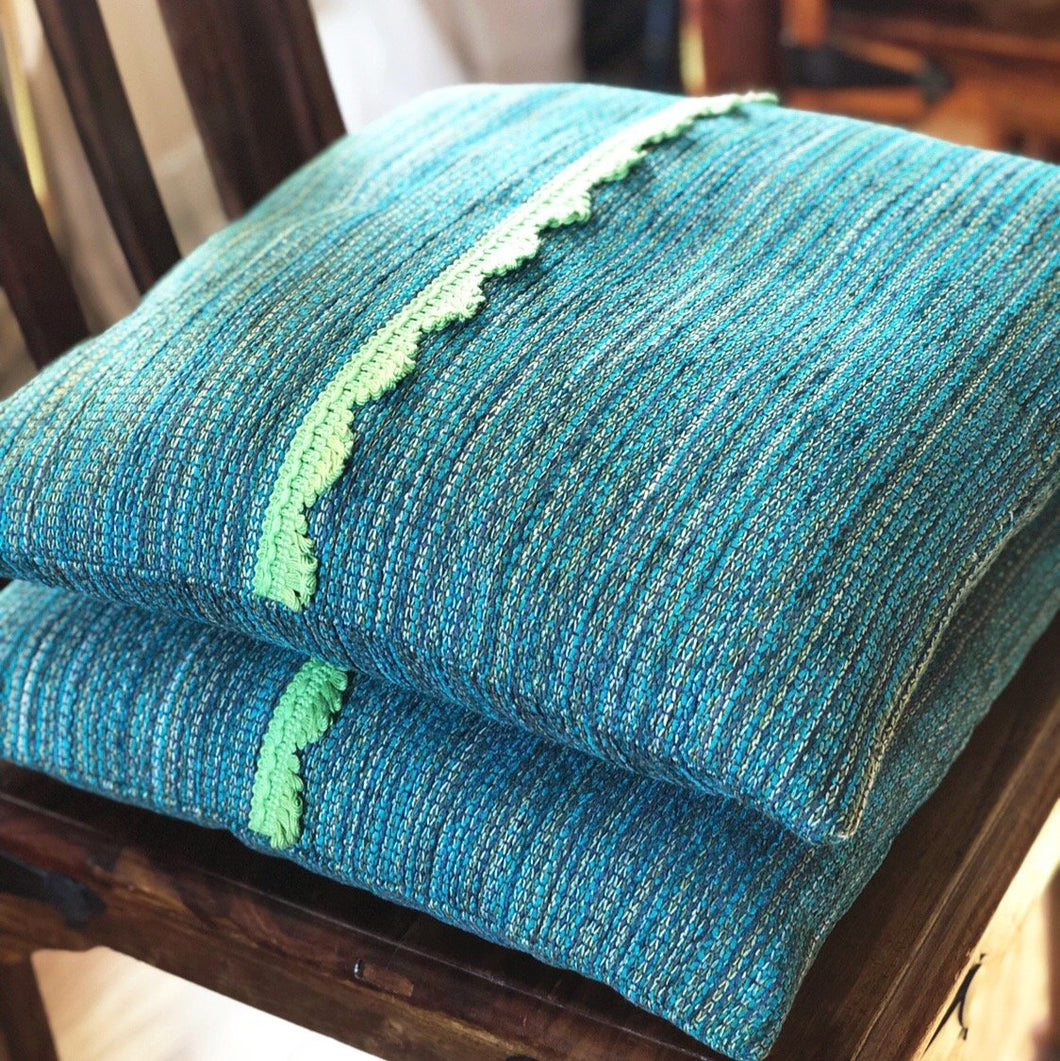 Handmade cushion cover - teal and lime green scallop trim