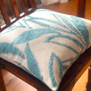 "Handmade cushion cover - 20"" teal and cream woven leaves"