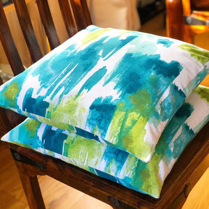 Handmade cushion - teal, white and lime green painterly effect